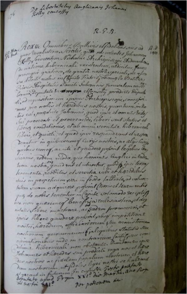Folio from Sir Walter Harris's 'Collectanea de rebus Hibernicis' (NLI, MS 4, f. 176).